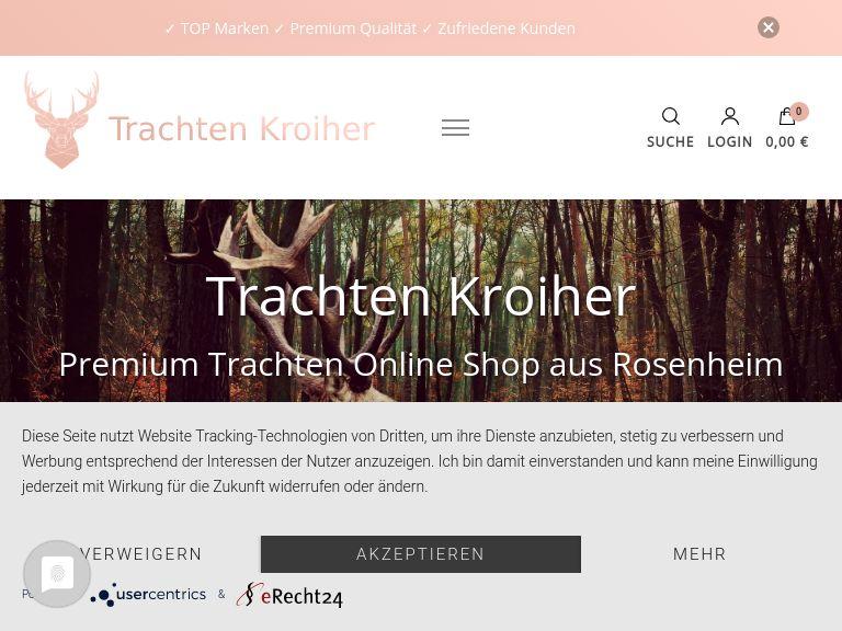 Firmenlogo vom Unternehmen Trachten Kroiher aus Rosenheim