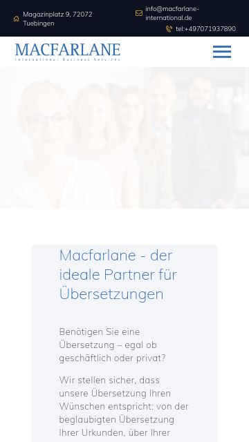 Firmenlogo vom Unternehmen Macfarlane International Business Services GmbH & Co. KG. aus Tübingen